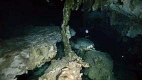 Underwater stalactites in Yucatan Mexican cenote. Underwater stalactites and stalagmites in landscape Mexican Sacred Mayan Cenote. Deep underground clean and stock video
