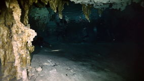 Underwater stalactites in Yucatan Mexican cenote. stock video footage