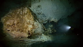 Underwater stalagmites in Mexican cenote. stock video footage