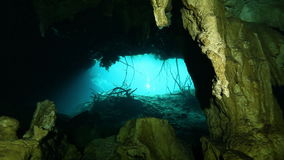 Underwater stalagmites in Mexico cenote. Underwater stalactites and stalagmites in landscape Mexico Sacred Mayan Cenote. Deep underground clean and clear fresh stock video
