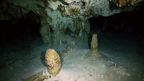 Underwater stalagmites in Yucatan Mexican cenote. Underwater stalactites and stalagmites in landscape Mexican Sacred Mayan Cenote. Deep underground clean and stock footage