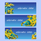 Underwater station, cards on a blue background stock illustration