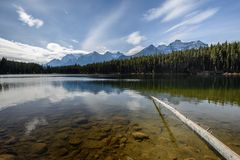 Underwater stones and Rocky Mountains near the Herbert Lake Royalty Free Stock Photography