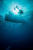 Underwater sunshine below the boat in Derawan, Kalimantan, Indonesia underwater photo Stock Photos