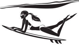 Underwater surf girl Royalty Free Stock Image