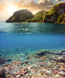 Underwater and surface split view in the tropics Stock Photo