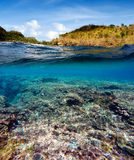 Underwater and surface split view in the tropics Stock Image
