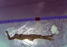 Underwater swimmer during training session