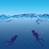 Underwater swimmers. Man and woman in scuba underwater swimmers. Vector illustration Royalty Free Stock Photos