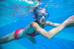 Underwater swimming Stock Photo