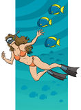 Underwater Swimming Woman. An illustration of a woman swimming underwater Royalty Free Stock Image