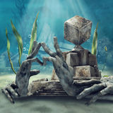 Underwater temple ruins Stock Images