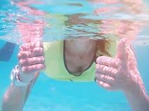 Underwater thumb up Stock Photos