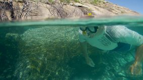 A man swims past through dead mangroves. An underwater tracking shot of a diver passing dead mangroves underwater stock footage