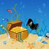 underwater treasure chest Stock Photo