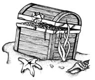 Underwater Treasure Chest. Illustration of a treasure chest lying on the sand, underwater Stock Photo