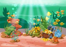 Underwater treasure, chest at the bottom of the ocean, gold, jewelry on the seabed. Underwater landscape, corals royalty free illustration