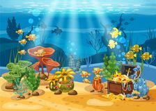 Underwater treasure, chest at the bottom of the ocean, gold, jewelry on the seabed. Underwater landscape, corals. Seaweed, tropical fish, vector, cartoon style stock illustration