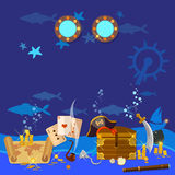 Underwater treasure pirate chest with gold Stock Images