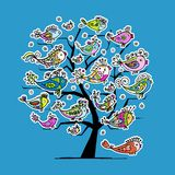 Underwater tree with funny fishes for your design Stock Photography