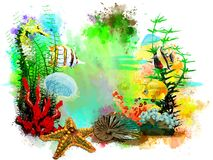 Underwater tropical world on an abstract watercolor background. Stock Image