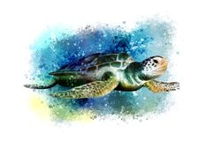 Underwater tropical world with a turtle on an abstract background. vector illustration