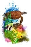 Underwater tropical world with a turtle and fish on an abstract background. royalty free stock images