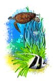 Underwater tropical world with a turtle and fish on an abstract background. royalty free stock photography