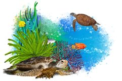 Underwater tropical world with a turtles on an abstract background. stock illustration