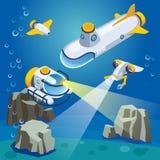 Underwater Vehicles Composition vector illustration