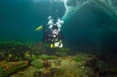 Underwater video operator Baikal Stock Photo