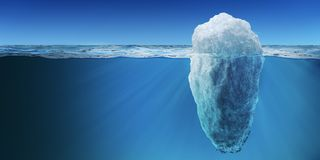 Underwater view on big iceberg floating in ocean. 3D rendered illustration.  royalty free illustration