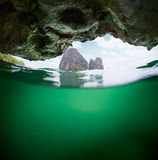 Underwater view of the cave Royalty Free Stock Photography