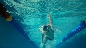 Underwater view of man swimming. In the pool stock footage