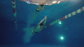 Underwater view to the beautiful professional swimmer diving into the pool and swimming crowl stroke. stock video