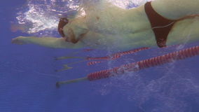 Underwater view to the professional swimmer swiming crawl stroke in the pool, reaching the wall and doing a flip turn. Underwater view to the beautiful stock video