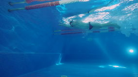 Underwater view to the professional swimmer swiming crawl stroke in the pool, reaching the wall and doing a flip turn. Underwater view to the beautiful stock video footage