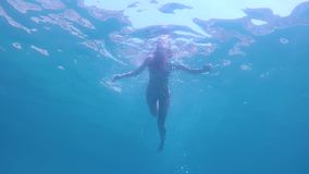 Underwater View Of Young Woman In Bikini Swims In The Blue Sea. Underwater sea view young woman in bikini swims breaststroke in blue sea, slow motion stock video