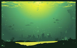 Underwater Vintage Urban Landscape Royalty Free Stock Photos