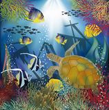 Underwater wallpaper with sea turtle Royalty Free Stock Photo