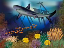 Underwater wallpaper with ship and shark Royalty Free Stock Photo