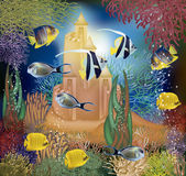 Underwater wallpaper with tropical fish and sandcastle Royalty Free Stock Photos
