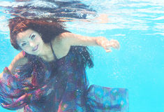 Underwater woman close up portrait Royalty Free Stock Images