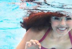 Underwater woman close up portrait Stock Photo