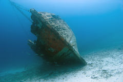 Underwater Wooden Caribbean Shipwreck Stock Image