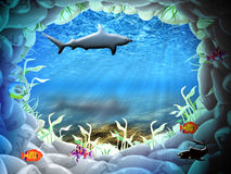 The underwater world. Stone cave under water in beams of the sun Royalty Free Stock Image