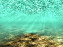 The underwater world. Abstract background of the underwater world with rays of light Stock Photos