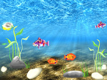 The underwater world. Undersea world with sailling varicoloured fish between algae Stock Images