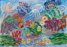Underwater world abstract painting. Underwater landscape with coral reef. Abstract acrylic painting Royalty Free Stock Image