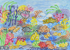 Underwater world abstract painting Royalty Free Stock Images